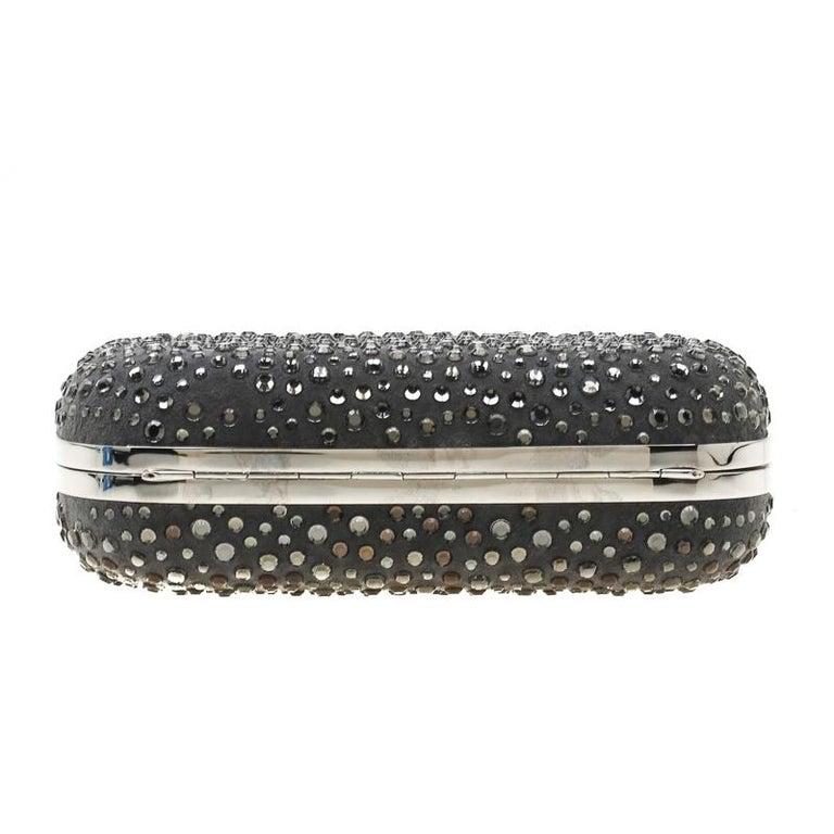 Alexander McQueen Grey Nubuck Leather and Crystal Embellished Skull Clutch For Sale 1