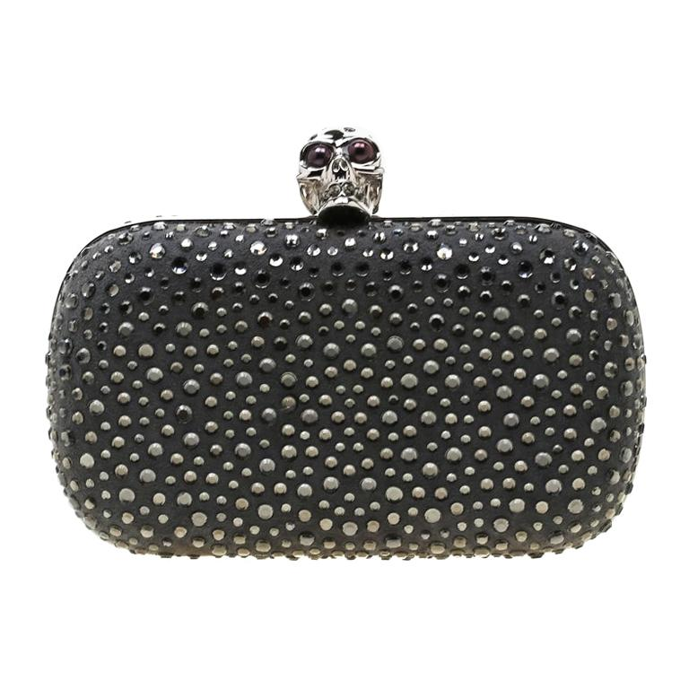 Alexander McQueen Grey Nubuck Leather and Crystal Embellished Skull Clutch For Sale
