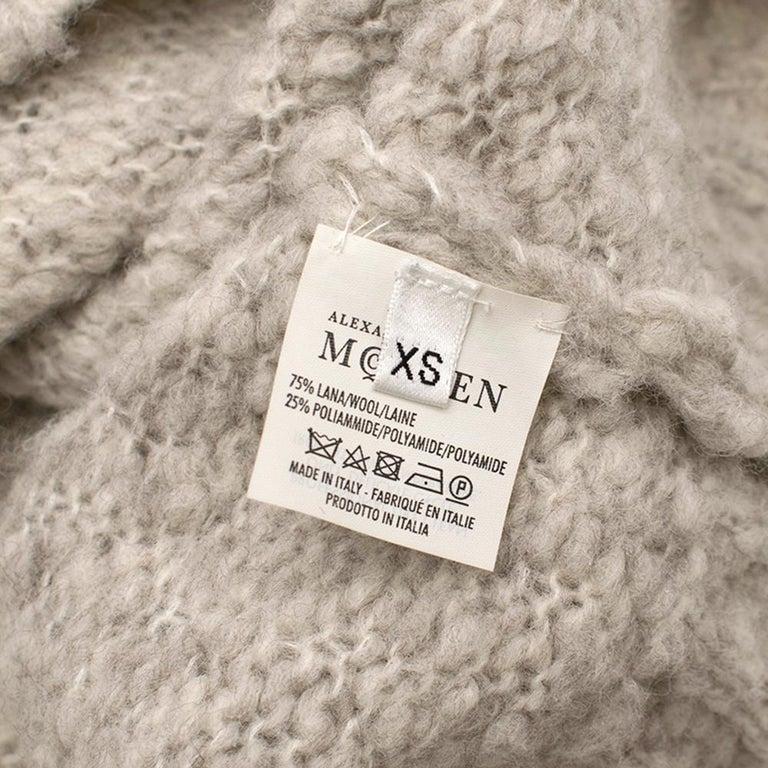 Alexander McQueen Grey Skull Print Wool Blend Roll Neck Sweater XS For Sale 6