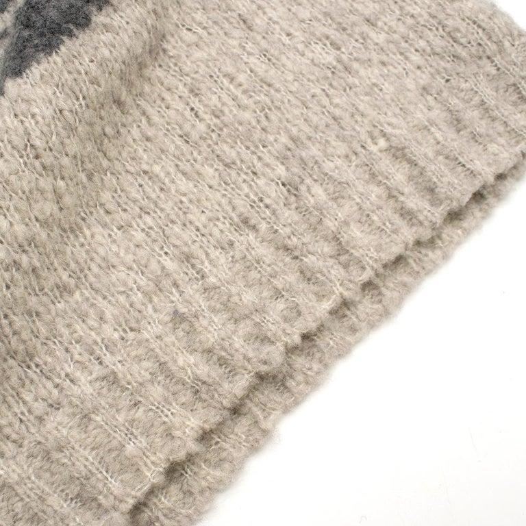Alexander McQueen Grey Skull Print Wool Blend Roll Neck Sweater XS For Sale 1