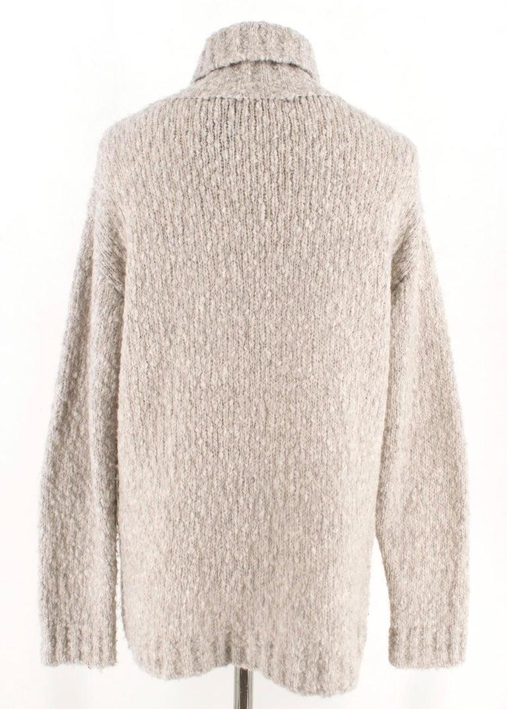 Alexander McQueen Grey Skull Print Wool Blend Roll Neck Sweater XS For Sale 2