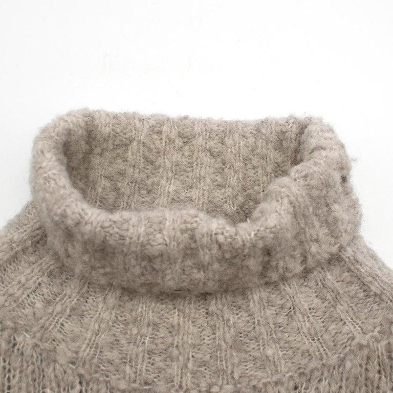 Alexander McQueen Grey Skull Print Wool Blend Roll Neck Sweater XS For Sale 5