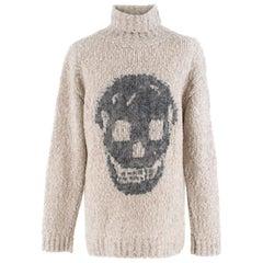 Alexander McQueen Grey Skull Print Wool Blend Roll Neck Sweater XS