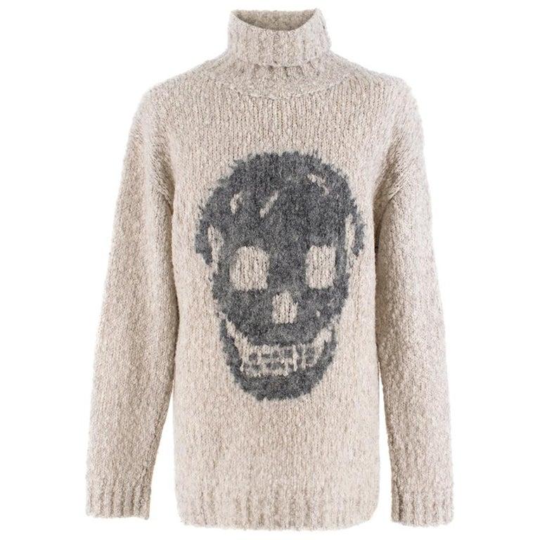 Alexander McQueen Grey Skull Print Wool Blend Roll Neck Sweater XS For Sale
