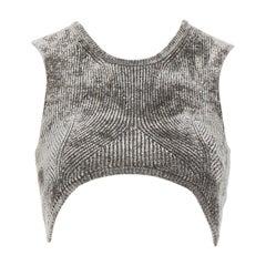 ALEXANDER WANG grey stretch velour contoured ribbing cropped bra top XS