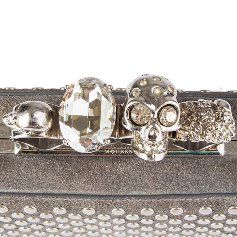 ALEXANDER MCQUEEN grey suede STUDDED CRYSTAL FOUR-RING SKULL Knuckle Clutch Bag For Sale 2