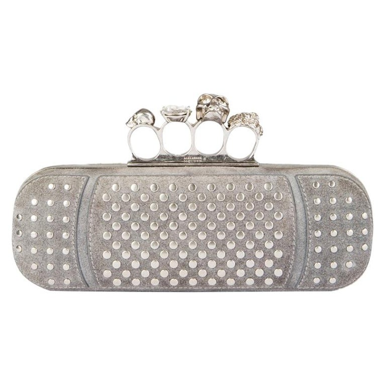 ALEXANDER MCQUEEN grey suede STUDDED CRYSTAL FOUR-RING SKULL Knuckle Clutch Bag For Sale