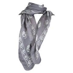 ALEXANDER MCQUEEN grey & white silk SKULL Scarf Shawl