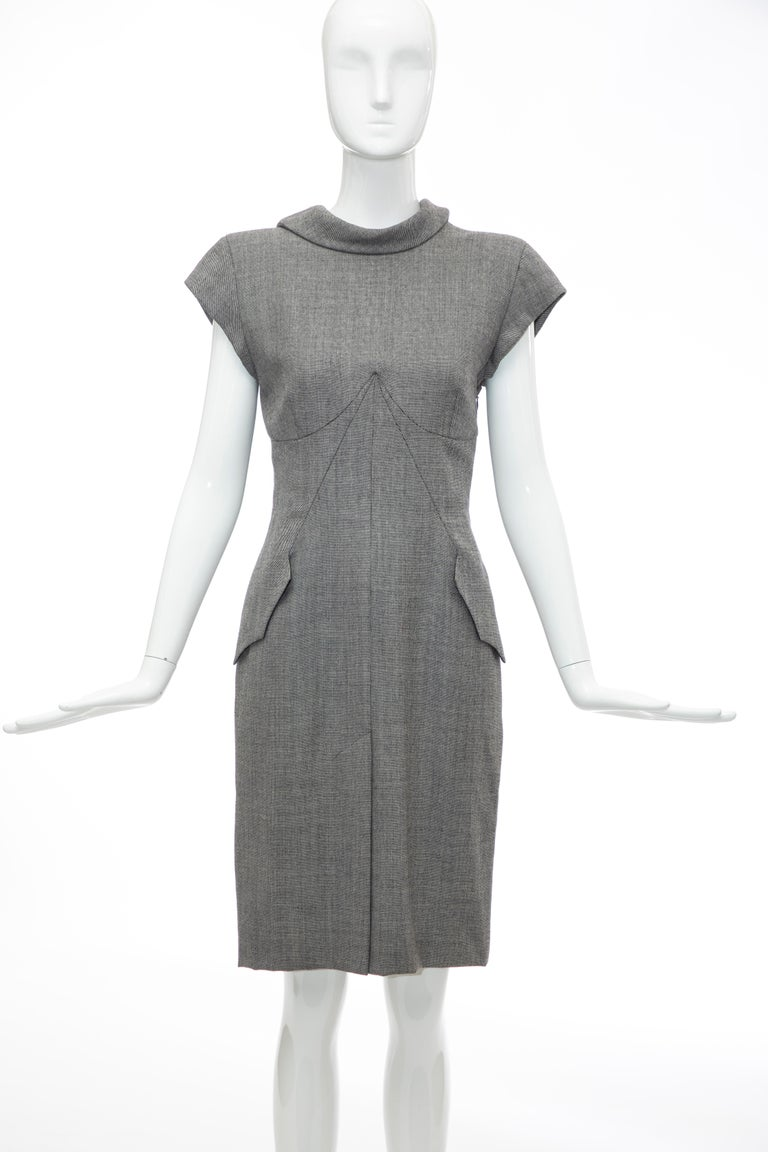 Gray Alexander McQueen Grey Wool Twill Mesh Nylon Dress
