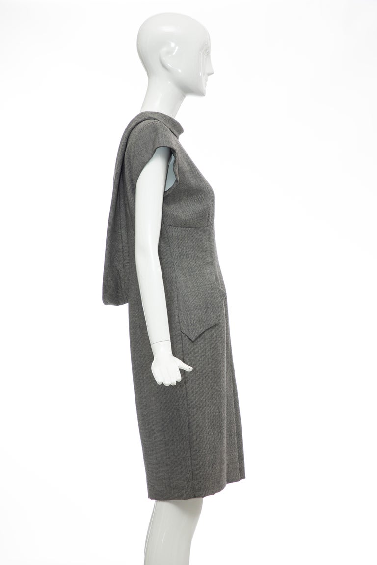 Women's Alexander McQueen Grey Wool Twill Mesh Nylon Dress
