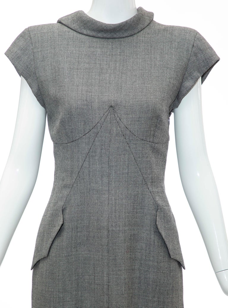 Alexander McQueen Grey Wool Twill Mesh Nylon Dress