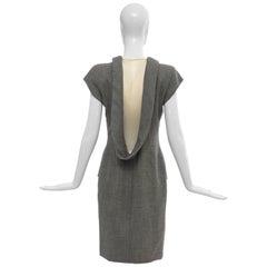 "Alexander McQueen Grey Wool Twill Mesh Nylon Dress ""Untitled"", Spring 1998"