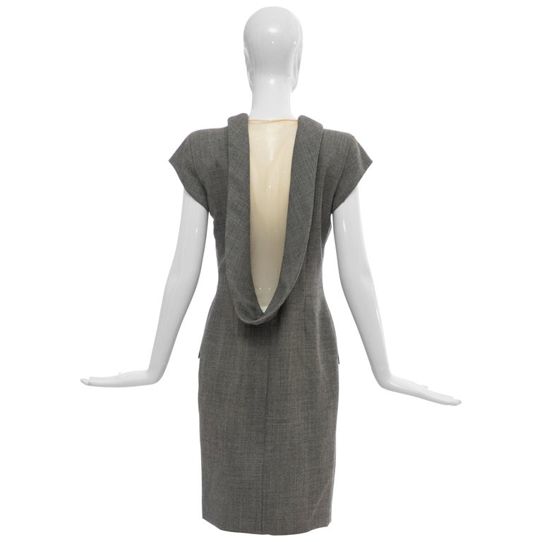 "Alexander McQueen Grey Wool Twill Mesh Nylon Dress ""Untitled"", Spring 1998 For Sale"