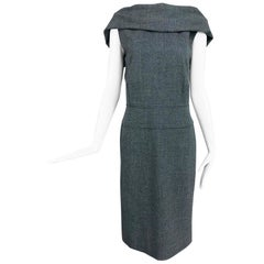 Alexander McQueen Grey Wool V Back Fitted Sheath Dress