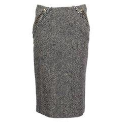 ALEXANDER MCQUEEN grey wool ZIPPER Pencil Skirt 40 S