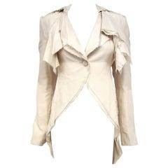 Alexander McQueen Habotai Silk & More Silk Winter White 10 Layer Coat 38 EU