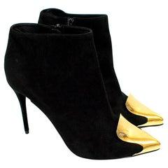 Alexander McQueen Habsburg Black Suede Boots with Gold Toe - Size EU 39