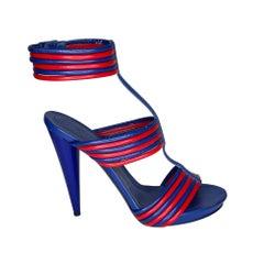 Alexander McQueen Hendrix Blue Red Leather Sandal Heel (39.5 EU)
