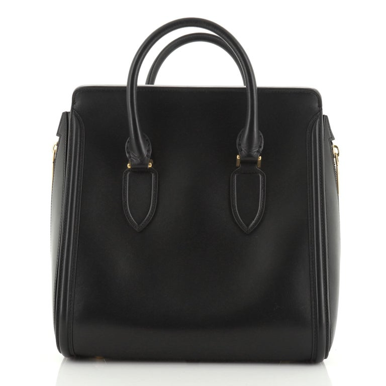 Black Alexander McQueen Heroine Tote Leather Large For Sale