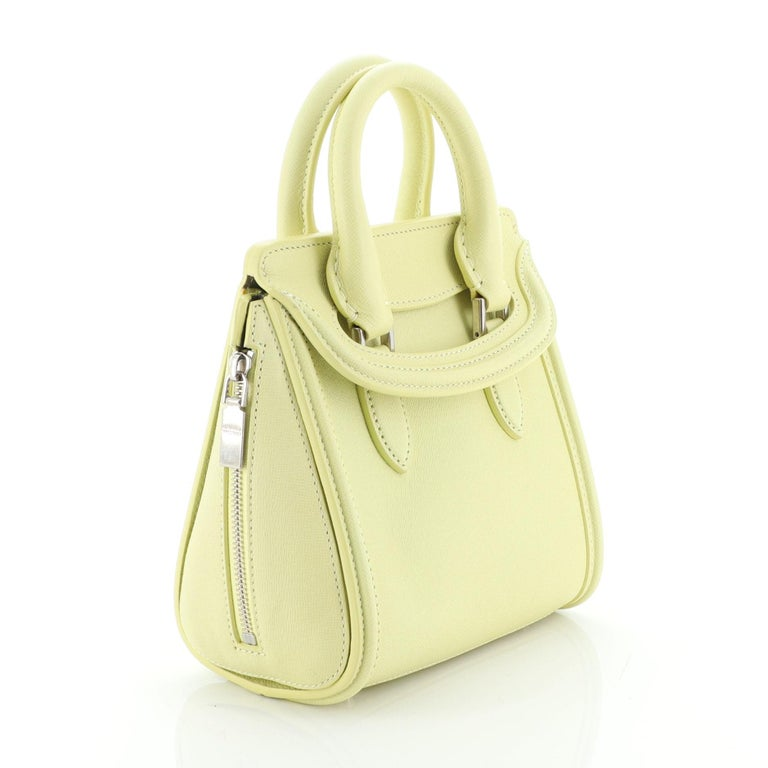 Green Alexander McQueen Heroine Tote Leather Mini For Sale