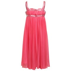 Alexander McQueen Hot Pink Pleated Babydoll Dress