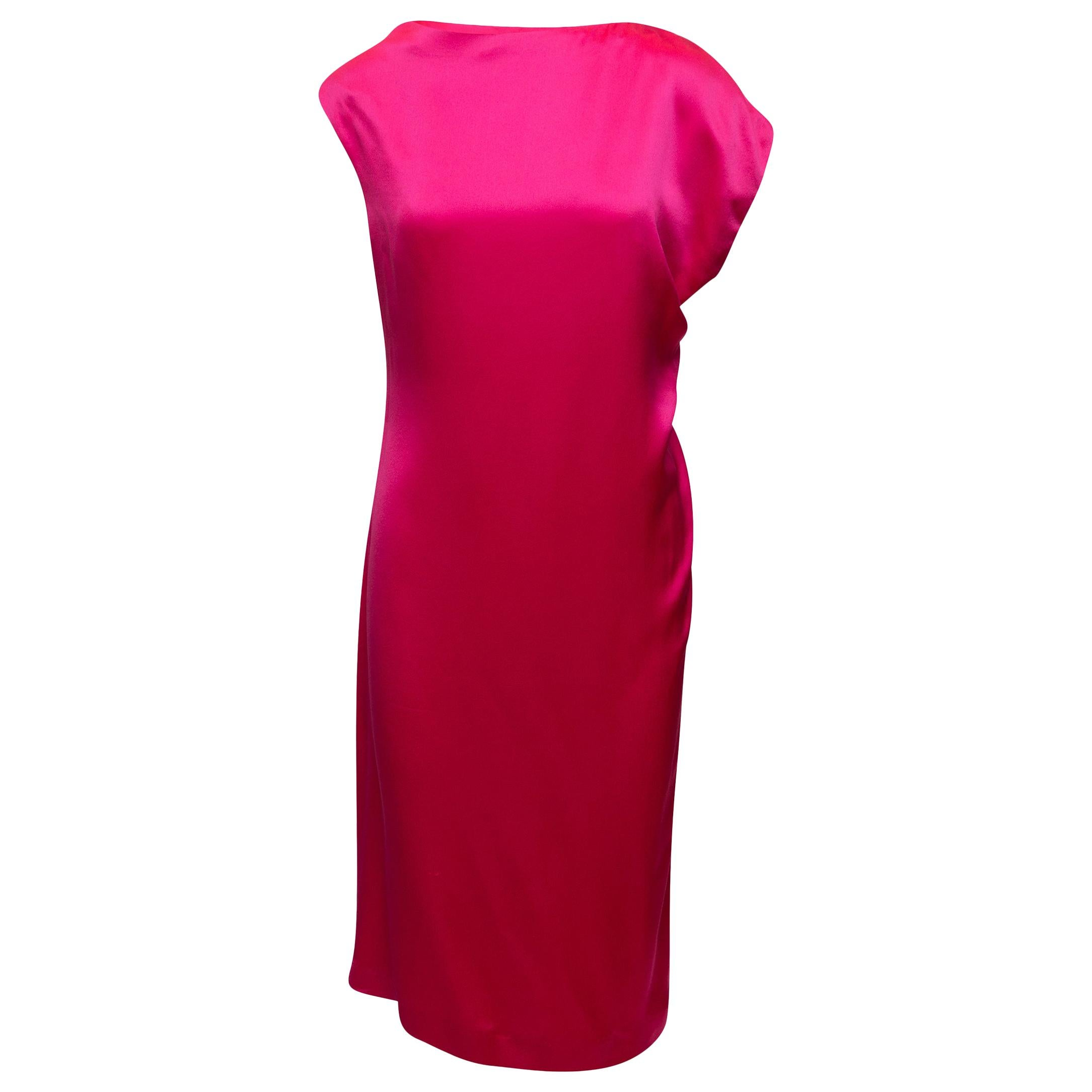 Alexander McQueen Hot Pink Silk Midi Dress