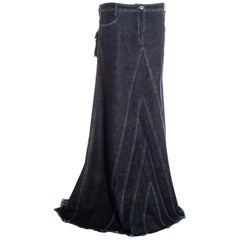 Alexander McQueen indigo denim bias cut maxi skirt, fw 1996