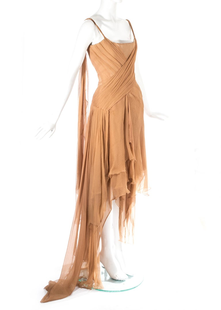 Brown Alexander McQueen 'Irere' silk chiffon corseted evening dress, S/S 2003 For Sale