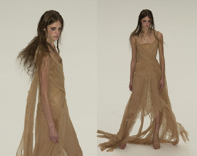 Alexander McQueen 'Irere' silk chiffon corseted evening dress, S/S 2003 In Good Condition For Sale In London, GB