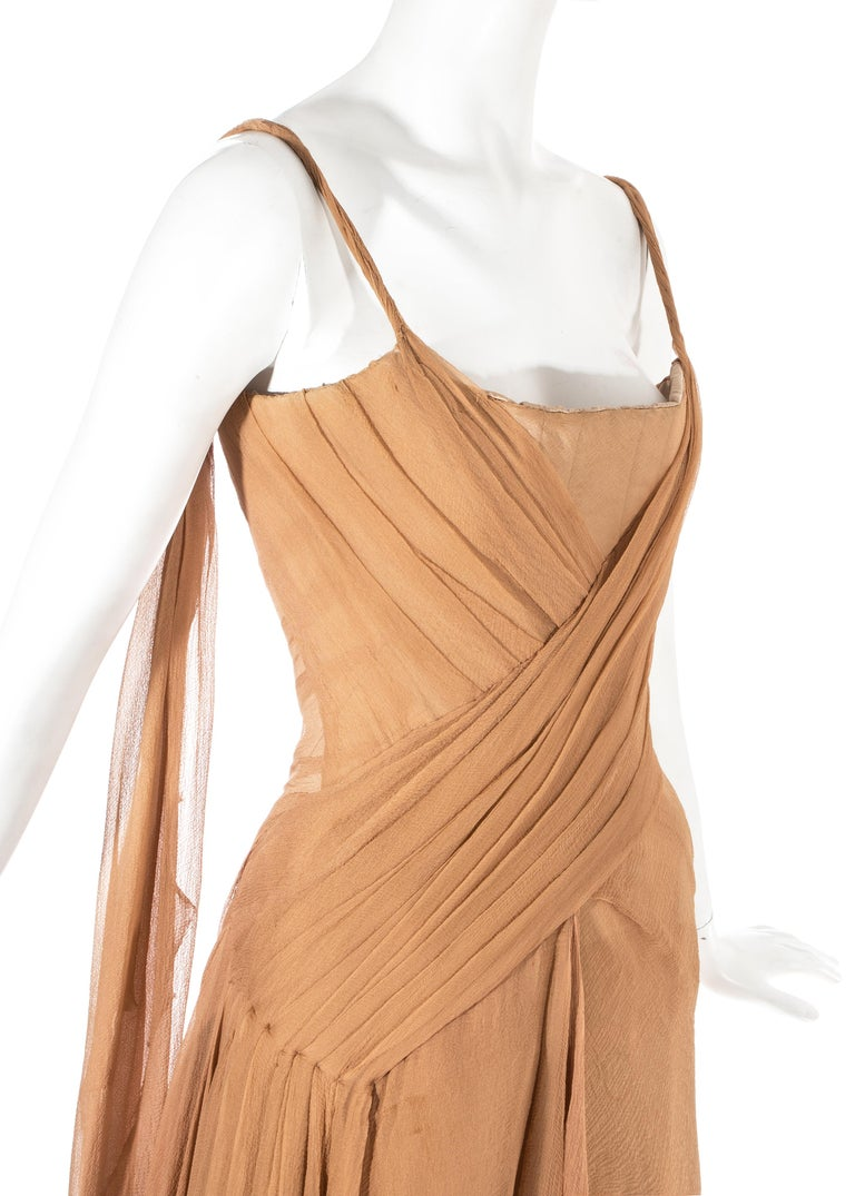 Women's Alexander McQueen 'Irere' silk chiffon corseted evening dress, S/S 2003 For Sale