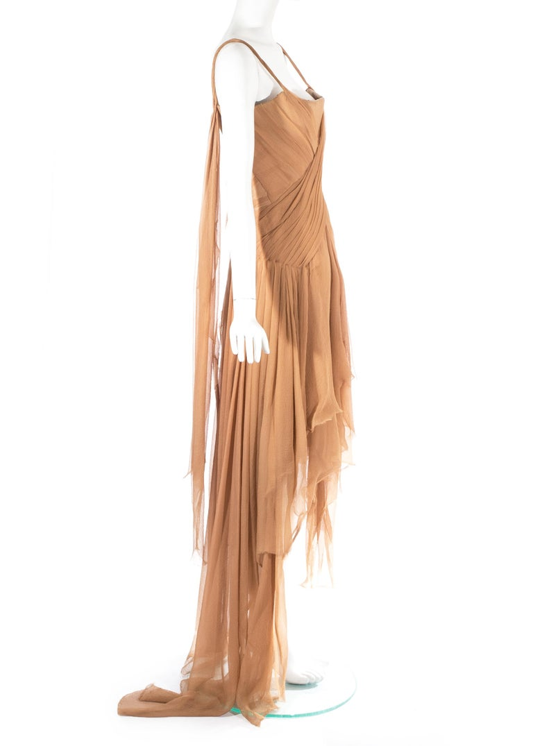 Alexander McQueen 'Irere' silk chiffon corseted evening dress, S/S 2003 For Sale 1