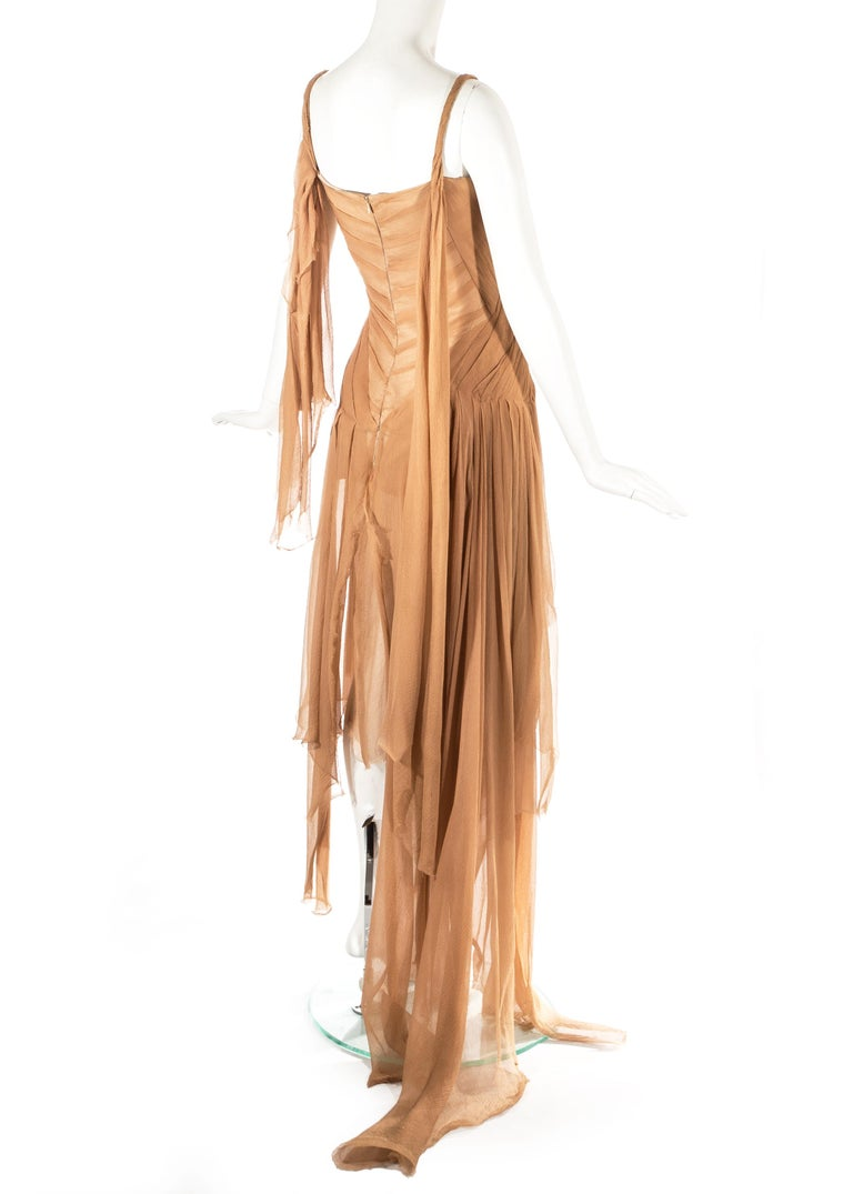 Alexander McQueen 'Irere' silk chiffon corseted evening dress, S/S 2003 For Sale 2