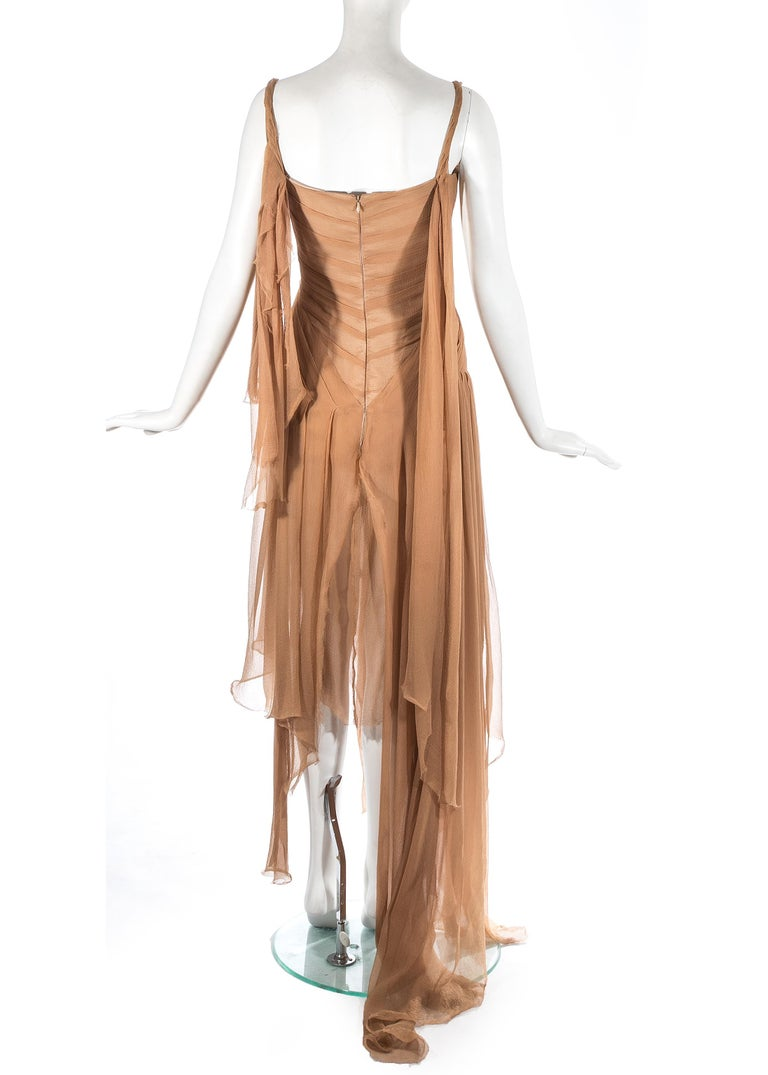 Alexander McQueen 'Irere' silk chiffon corseted evening dress, S/S 2003 For Sale 3
