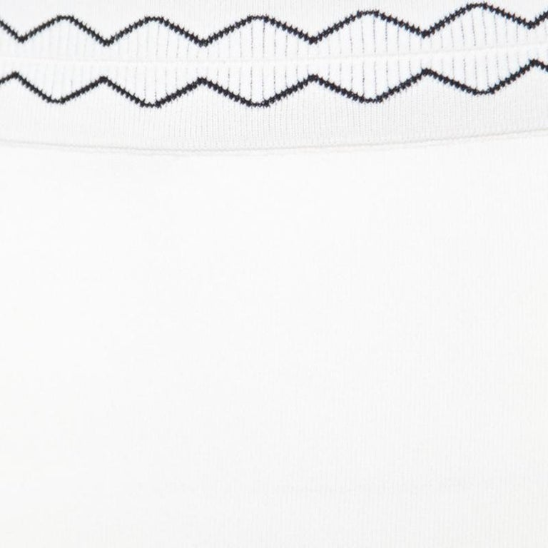 f94e9e768 Alexander McQueen Ivory Rib Knit Contrast Cut Out Hem Detail Pencil Skirt S  For Sale 1