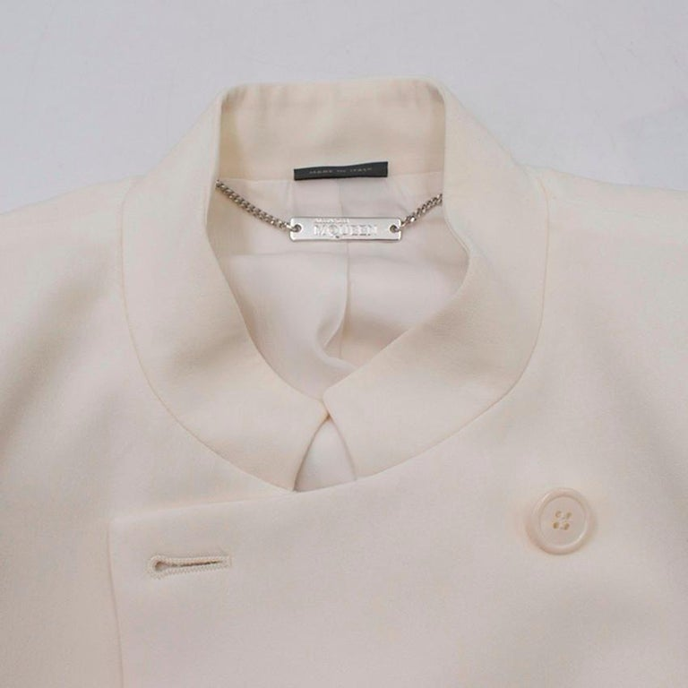 Alexander McQueen Ivory Single Breasted Coat US 6 In Excellent Condition For Sale In London, GB