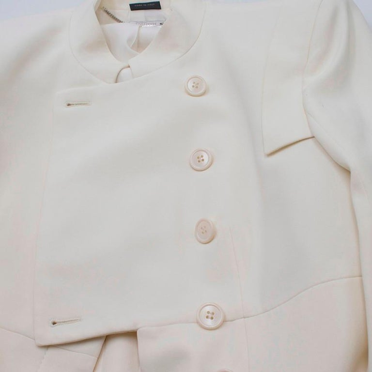 Alexander McQueen Ivory Single Breasted Coat US 6 For Sale 1