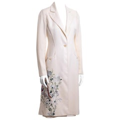 Alexander McQueen ivory wool embroidered skirt suit, c. 1997-1999