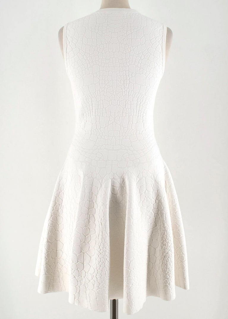Alexander McQueen Jacquard Crocodile Effect Skater Dress In New Condition For Sale In London, GB