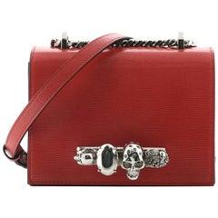 Alexander McQueen Jewelled Flap Satchel Lizard Embossed Leather Small