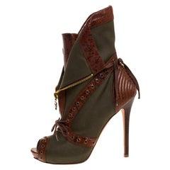 Alexander McQueen Khaki Green/Brown Canvas Boots Size 39