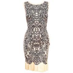 Alexander McQueen Knit Rose & Black Floral Print Sleeveless Dress Medium