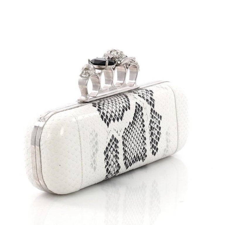 Gray Alexander McQueen Knuckle Box Clutch Python Long For Sale