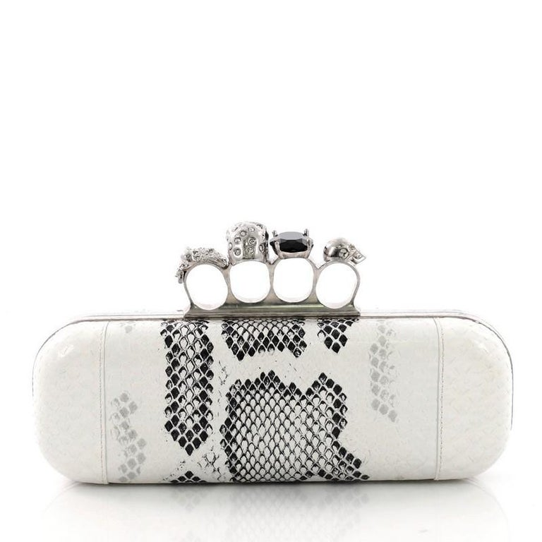 Alexander McQueen Knuckle Box Clutch Python Long In Good Condition For Sale In New York, NY