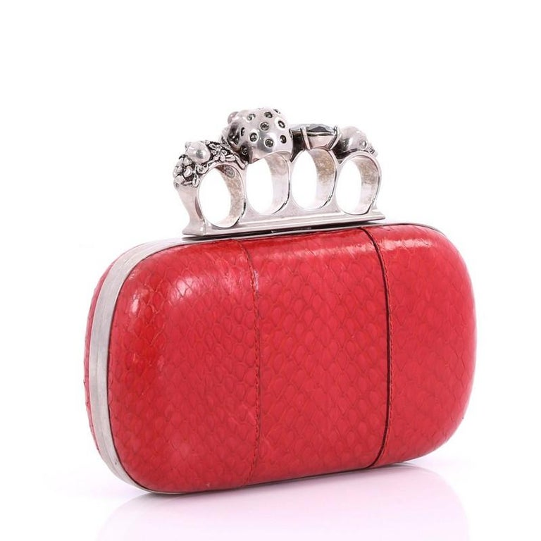 Red Alexander McQueen Knuckle Box Clutch Python Small For Sale