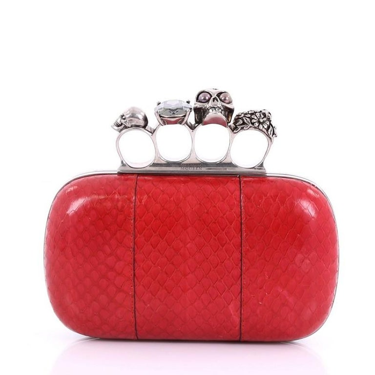 Alexander McQueen Knuckle Box Clutch Python Small In Good Condition For Sale In New York, NY
