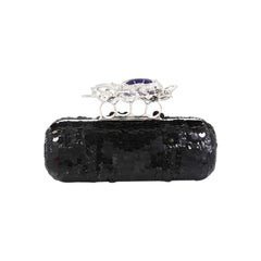 Alexander McQueen Knuckle Box Clutch Sequin Embellished Leather Long