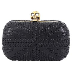 Alexander McQueen Knuckle Box Clutch Woven Leather Small