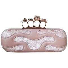 Alexander McQueen Knuckle Lace Covered Satin and Leather Clutch