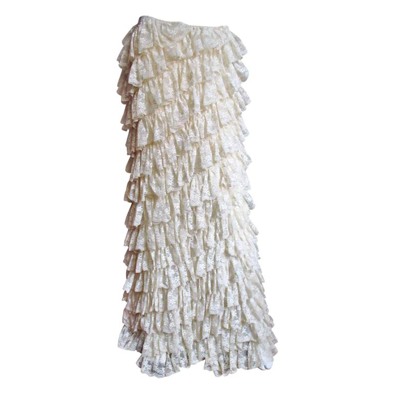 Alexander McQueen Lace Ruffle Maxi Skirt For Sale