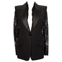 Alexander McQueen Lace Sleeve Tuxedo Black Jacket